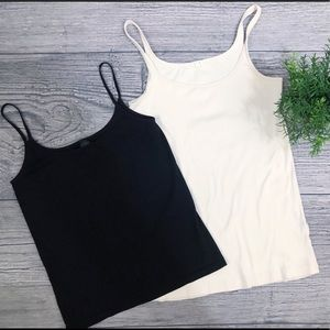 J. Crew & The Limited layering tanks/black & cream
